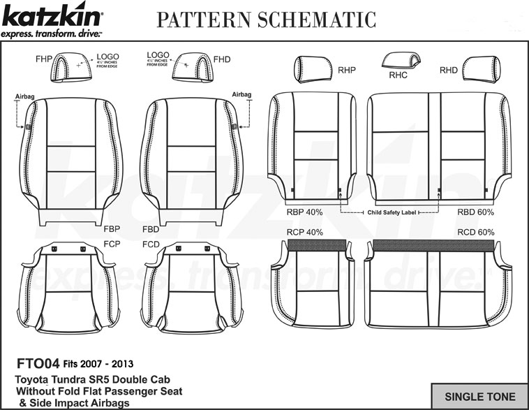 2007 2013 Toyota Tundra Dbl Cab Sr5 No Fold Flat Katzkin