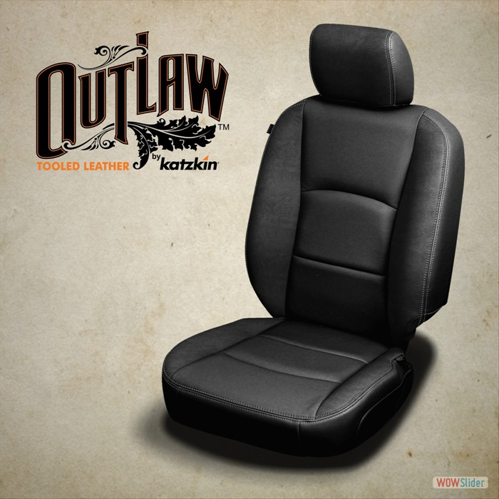 Black wrap, Outlaw Black wings and headrest, Silver contrast all stitch