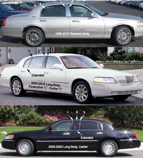 2009 Lincoln Town Car For Sale: Lincoln Town Car Chrome Pillar Post Trim, 1998, 1999, 2000