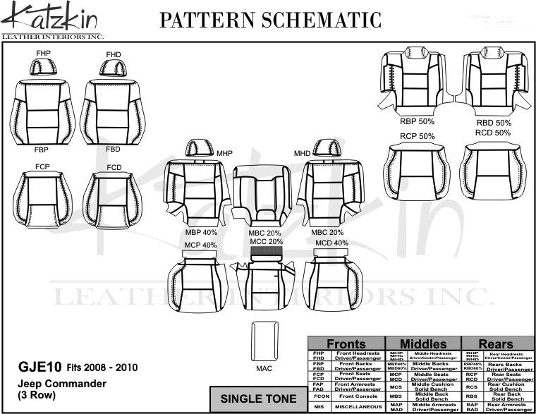 2008 2009 2010 jeep commander  3 row  katzkin leather kit