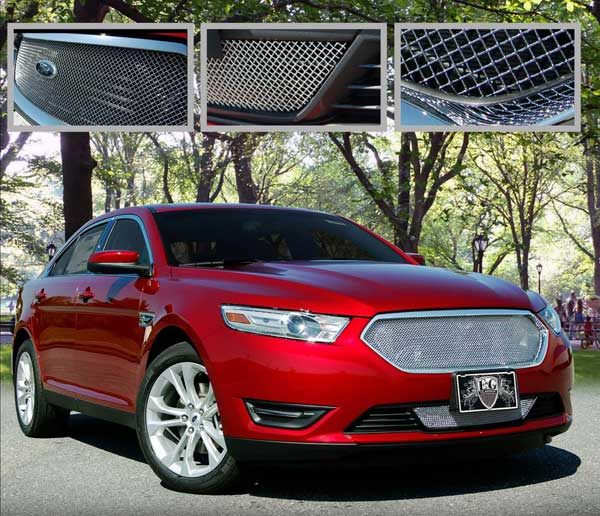 Ford Taurus SE, SEL, Limited Fine Mesh Grille by E&G CLASSICS, 2pc  Set,  2013 - 2016