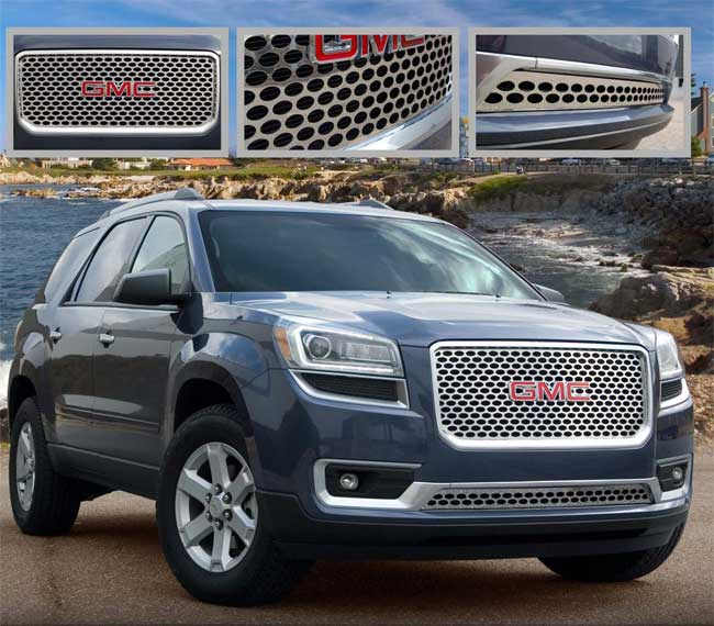 Bumper Grille For 2013-2016 GMC Acadia Set of 2 With chrome molding