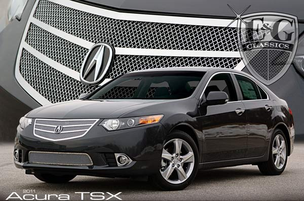 Acura TSX Twin Bar Chrome Mesh Grille By EG CLASSICS - Acura tsx grill