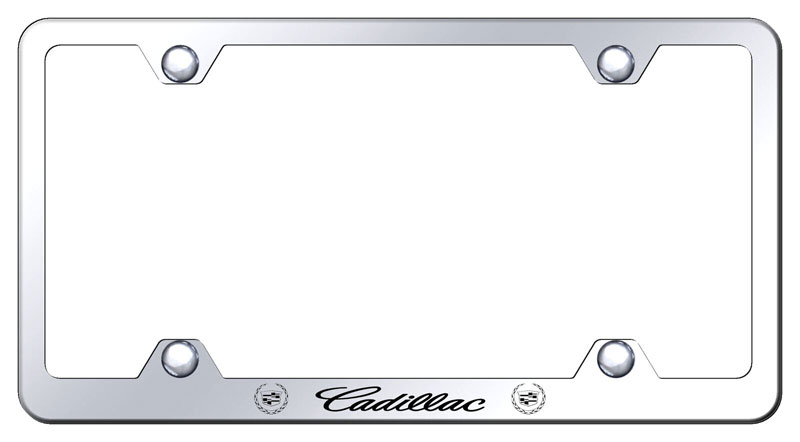 Cadillac Laser Etched Crest Chrome License Plate Frame
