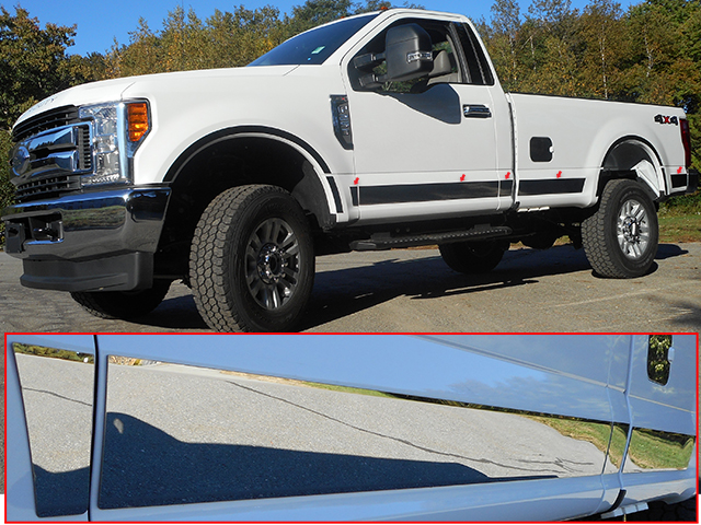 Ford Super Duty Regular Cab Chrome Rocker Panel Trim Set