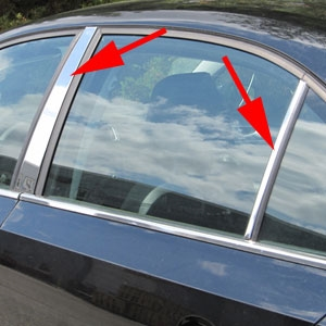 Works with 2005-2008 Volkswagen Jetta 4 PC Stainless Steel Chrome Pillar Post Trim Made in USA