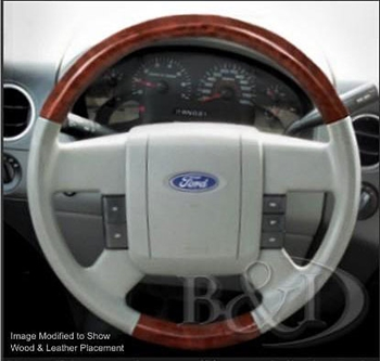 Ford F150 Replacement Leather and Wood Steering Wheel, 2004, 2005, 2006, 2007, 2008 | ShopSAR.com