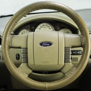 Wheelskins Black Genuine Leather Steering Wheel Cover for Ford